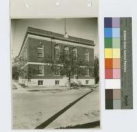 Oak Cliff Lodge No. 705 A.F. and A.M. (Dallas, Tex.): exterior view of front entrance, corner perspective
