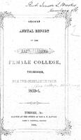 Second annual report of the East Alabama Female College, Tuskegee, for the scholastic year 1853-4